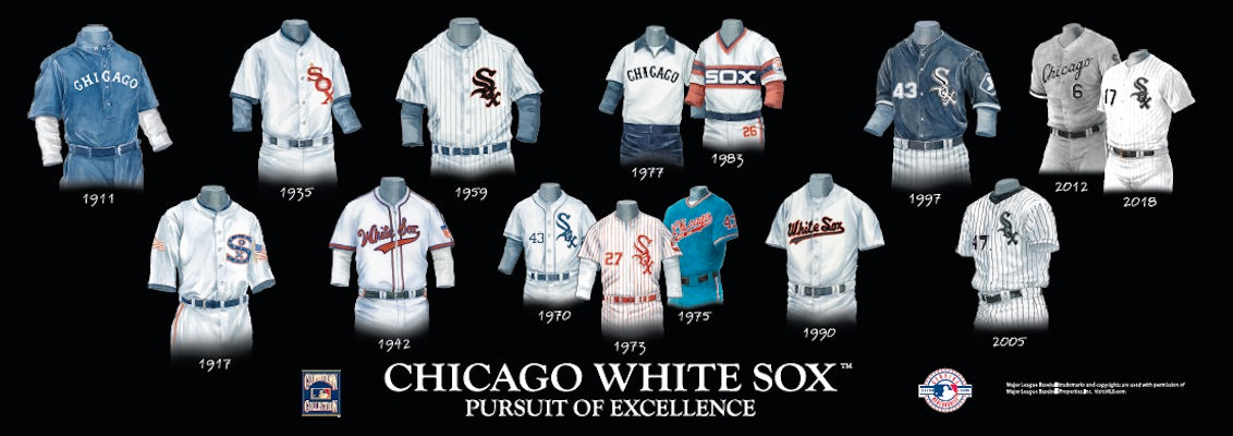 Chicago White Sox uniform evolution poster