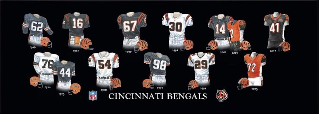 Cincinnati Bengals uniform evolution poster