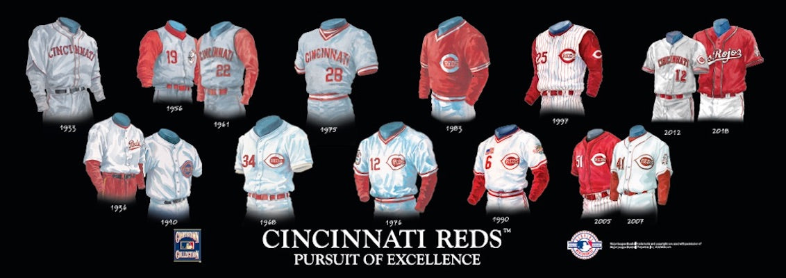 Cincinnati Reds uniform evolution poster