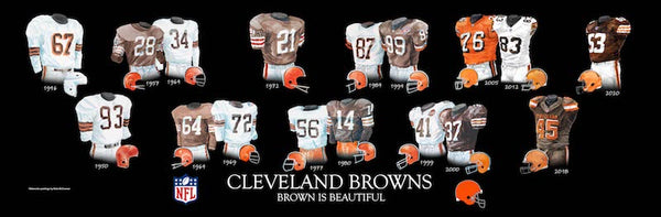 NFL poster that shows the evolution of the Cleveland Browns uniform.