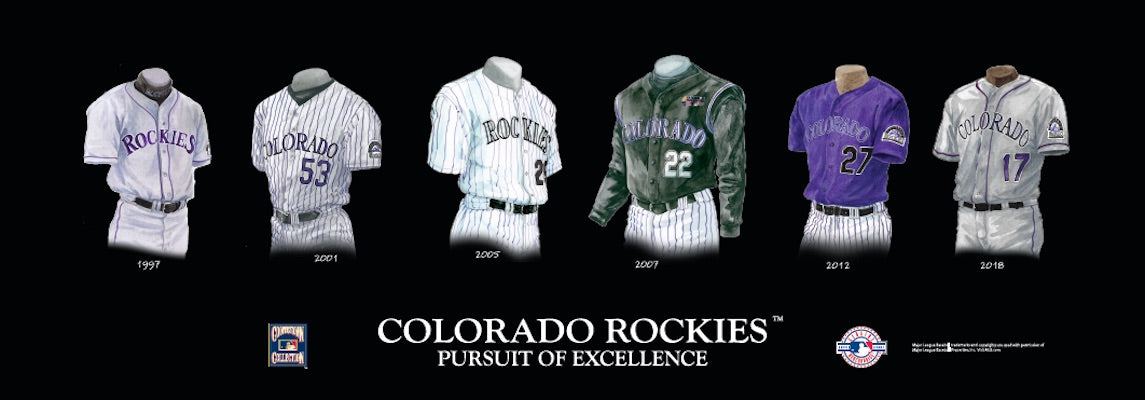 Colorado Rockies uniform evolution poster