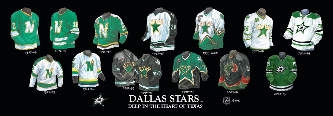 Dallas Stars jersey uniform evolution poster