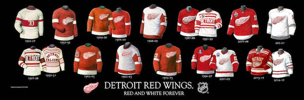 NHL poster that shows the evolution of the Detroit Red Wings jersey.