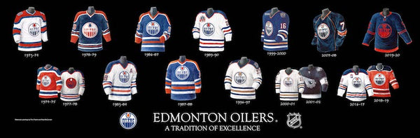 NHL poster that shows the evolution of the Edmonton Oilers jersey.