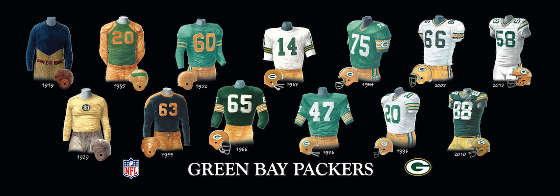 Green Bay Packers uniform evolution poster