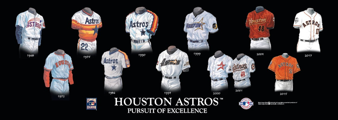 Houston Astros uniform evolution poster