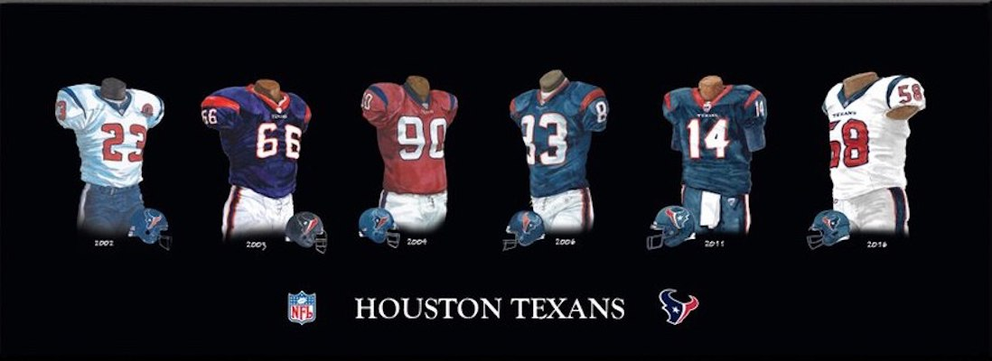 Houston Texans uniform evolution poster