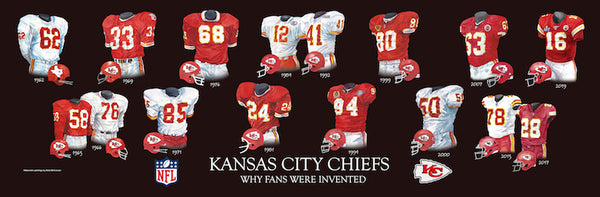 NFL poster that shows the evolution of the Kansas City Chiefs uniform.
