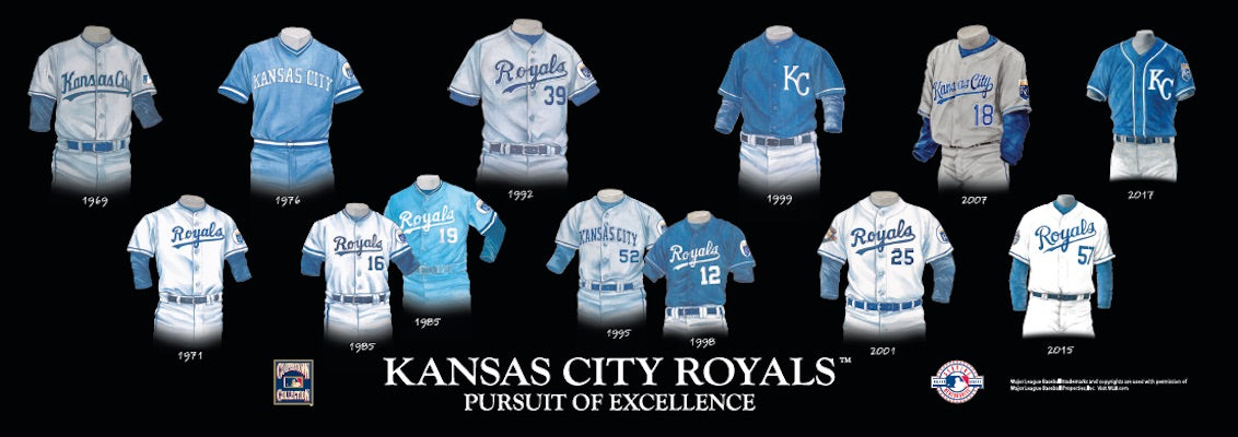 Kansas City Royals uniform evolution poster