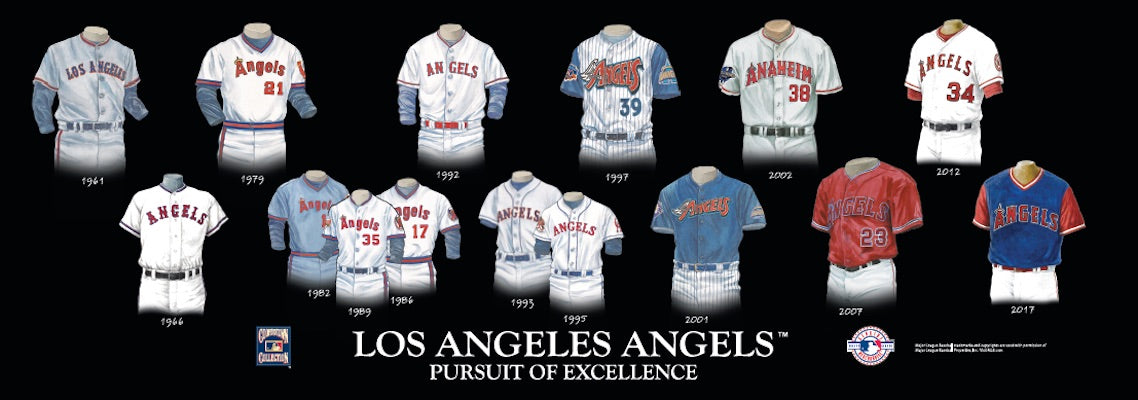 Los Angeles Angels uniform evolution poster