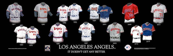MLB poster that shows the evolution of the Los Angeles Angels uniform.