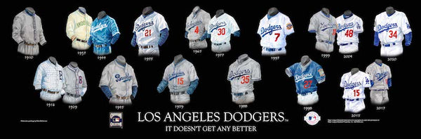 MLB poster that shows the evolution of the Los Angeles Dodgers uniform.