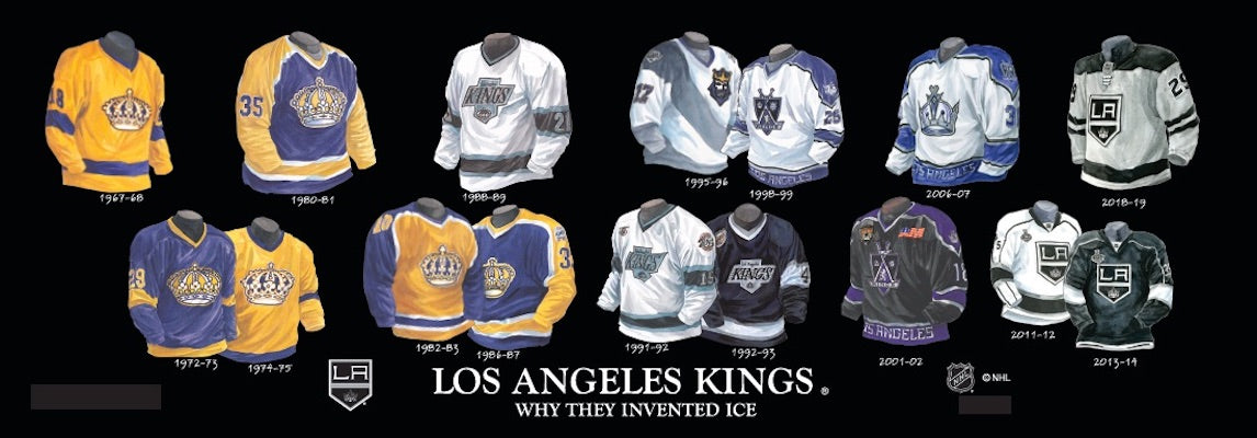 Los Angeles Kings jersey uniform evolution poster