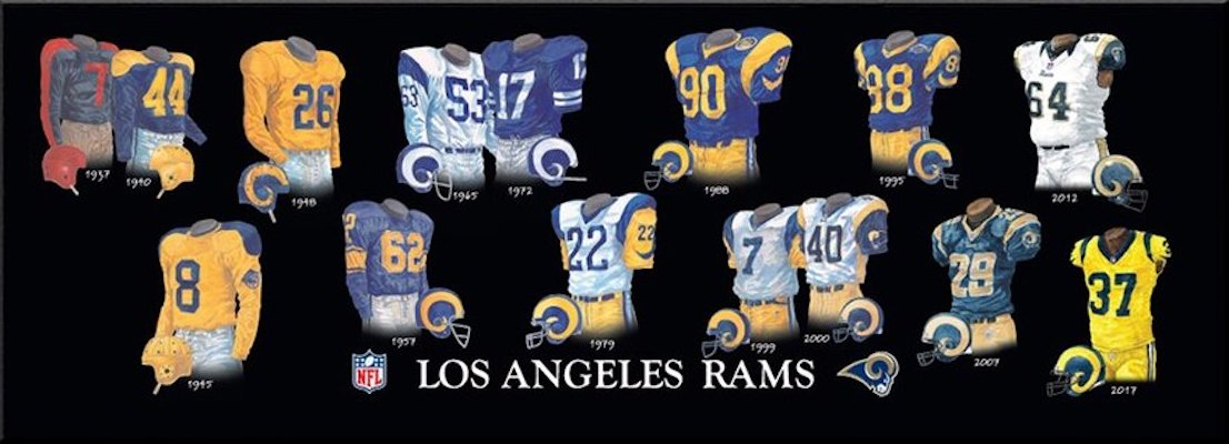 Los Angeles Rams uniform evolution poster