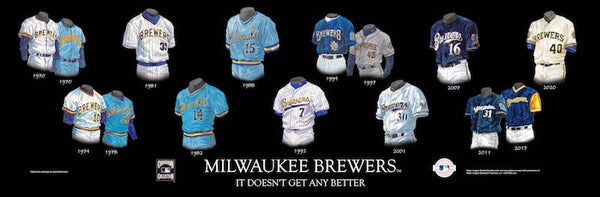 MLB poster that shows the evolution of the Milwaukee Brewers uniform.