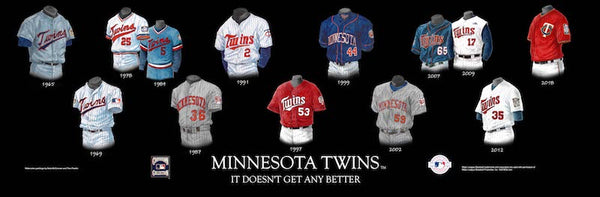 MLB poster that shows the evolution of the Minnesota Twins uniform.