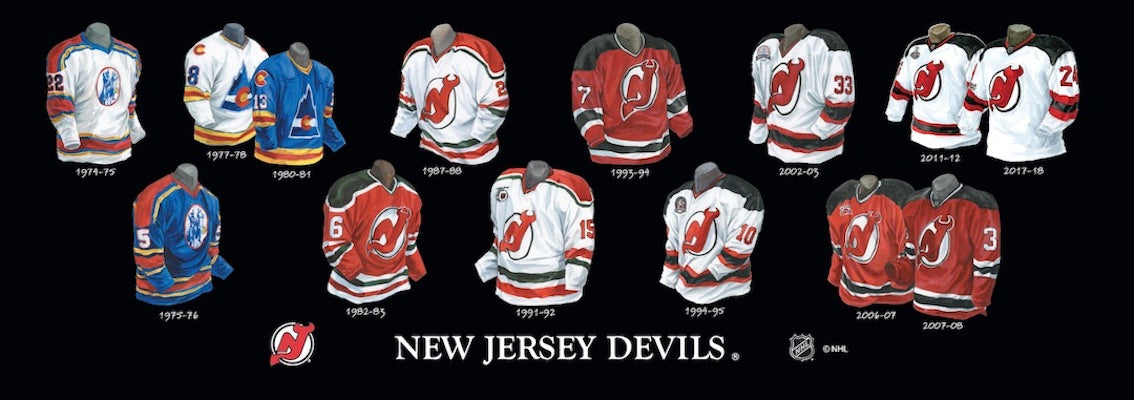 New Jersey Devils jersey uniform evolution poster
