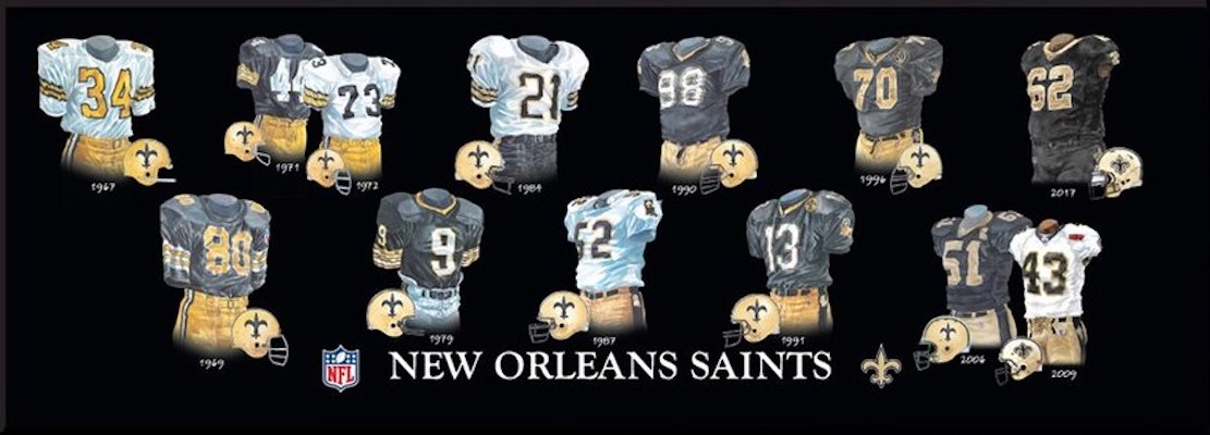 New Orleans Saints uniform evolution poster