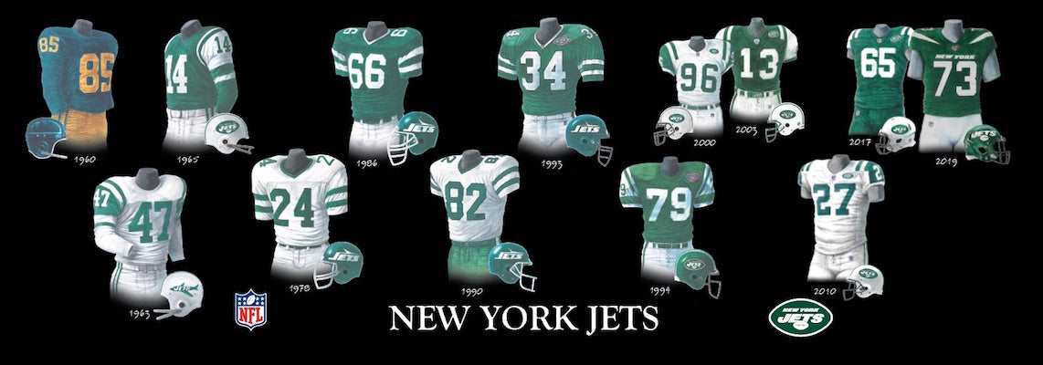 New York Jets uniform evolution poster