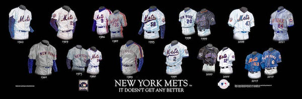 MLB poster that shows the evolution of the New York Mets uniform.