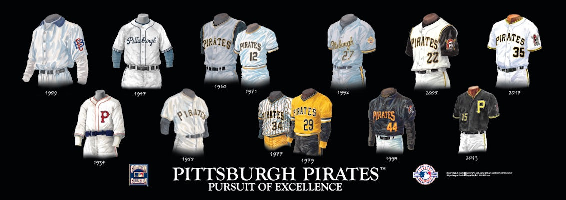 Pittsburgh Pirates uniform evolution poster