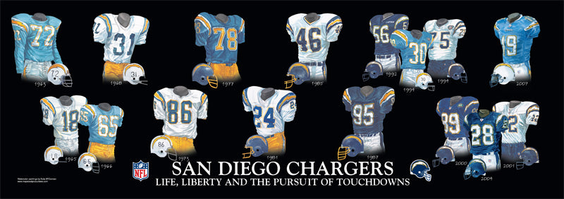 Los Angeles Chargers Uniform Print