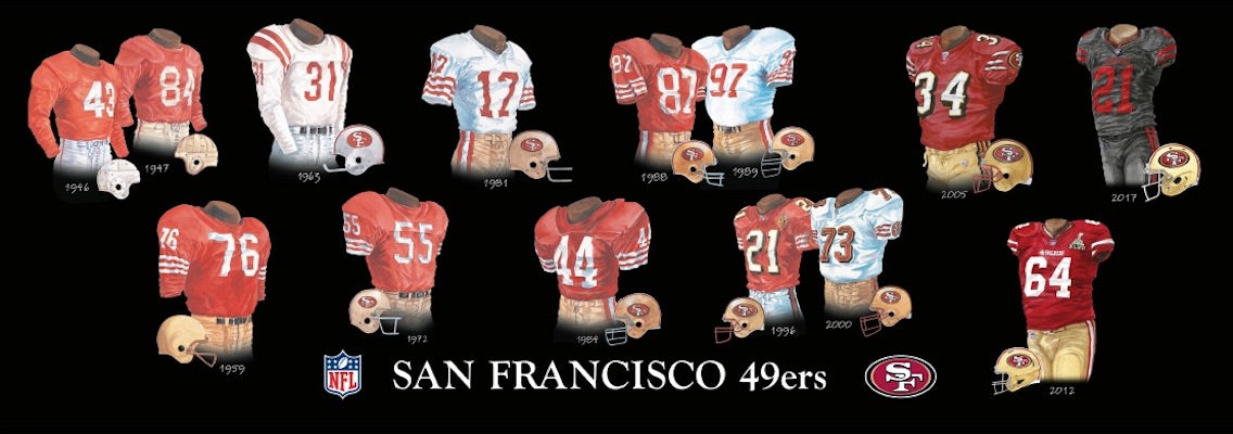 San Francisco 49ers uniform evolution poster