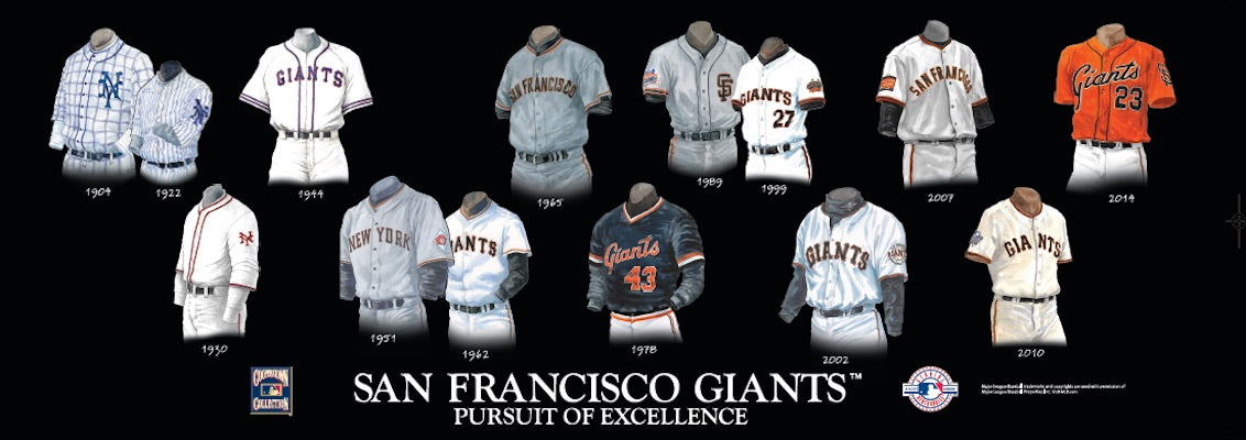 San Francisco Giants uniform evolution poster
