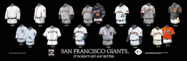 MLB poster that shows the evolution of the San Francisco Giants uniform.