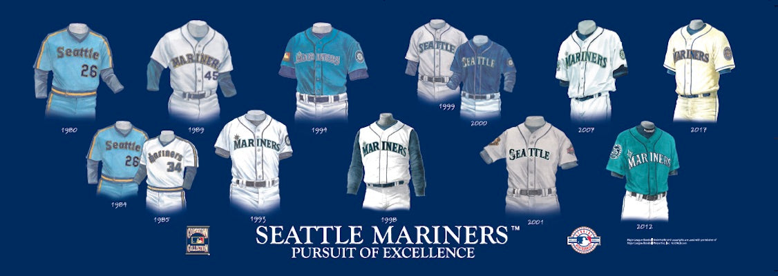 Seattle Mariners uniform evolution poster