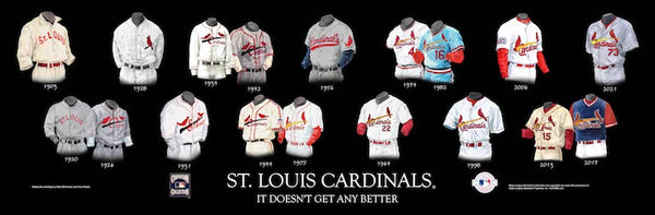 MLB poster that shows the evolution of the St. Louis Cardinals uniform.
