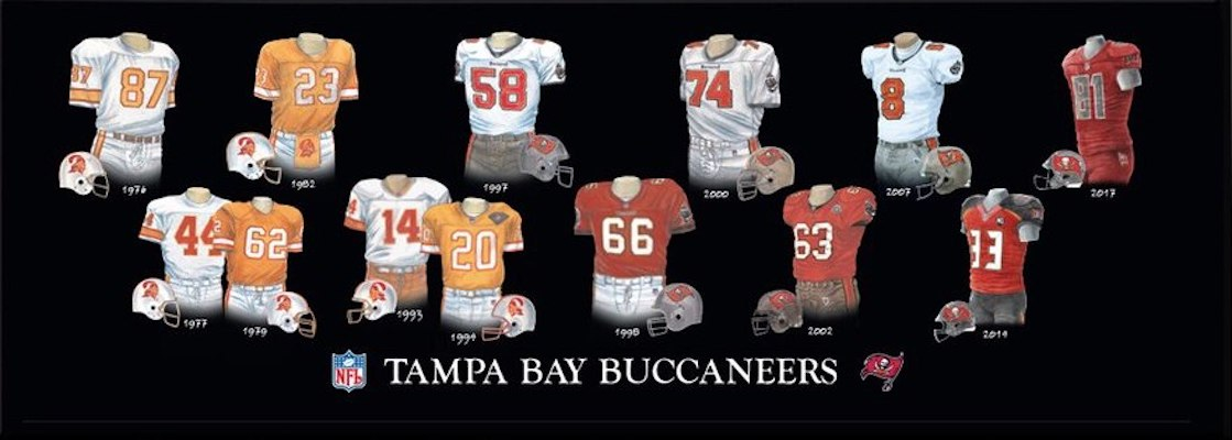Tampa Bay Buccaneers uniform evolution poster