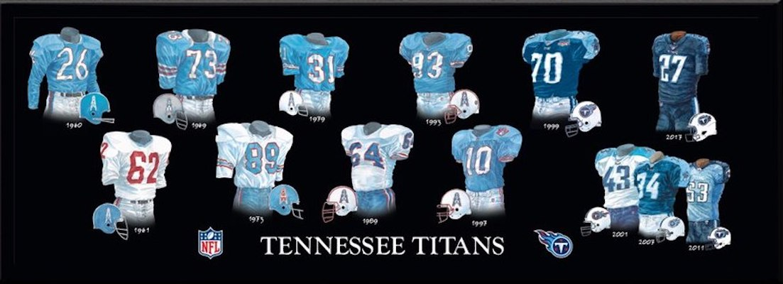 Tennessee Titans uniform evolution poster