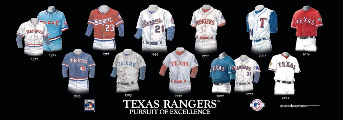 Texas Rangers uniform evolution poster