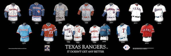 MLB poster that shows the evolution of the Texas Rangers uniform.