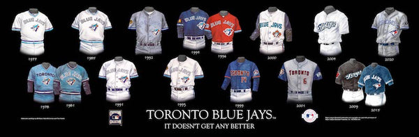 MLB poster that shows the evolution of the Toronto Blue Jays uniform.