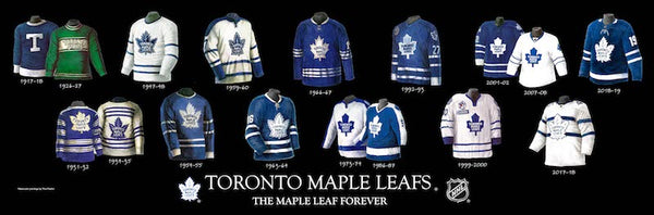 NHL poster that shows the evolution of the Toronto Maple Leafs jersey.