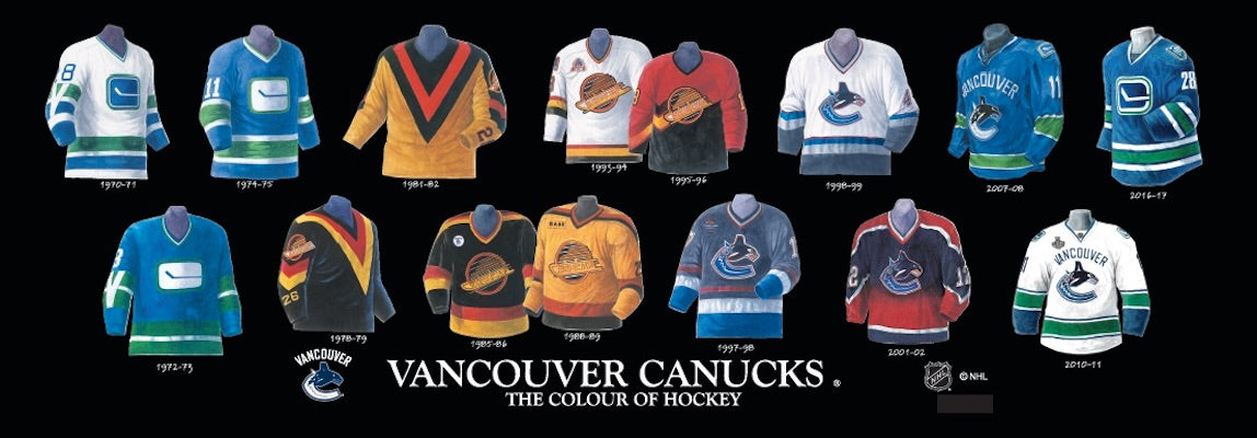 Vancouver Canucks jersey uniform evolution poster