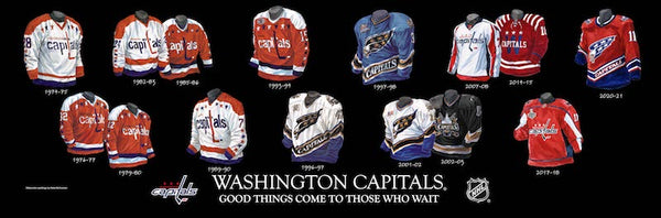 NHL poster that shows the evolution of the Washington Capitals jersey.