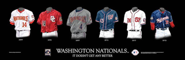 MLB poster that shows the evolution of the Washington Nationals uniform.