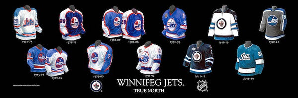 NHL poster that shows the evolution of the Winnipeg Jets jersey.