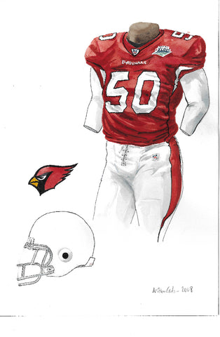 This is an original watercolor painting of the 2008 Arizona Cardinals uniform.