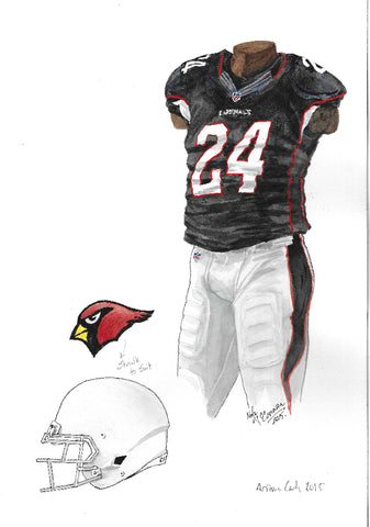 This is an original watercolor painting of the 2015 Arizona Cardinals uniform.