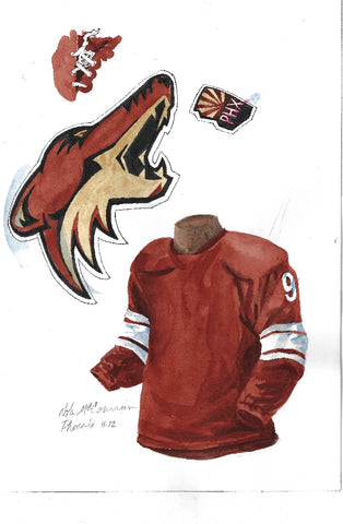 Arizona Coyotes 2011-12 - Heritage Sports Art - original watercolor artwork