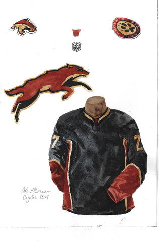 Arizona Coyotes 2013-14 - Heritage Sports Art - original watercolor artwork