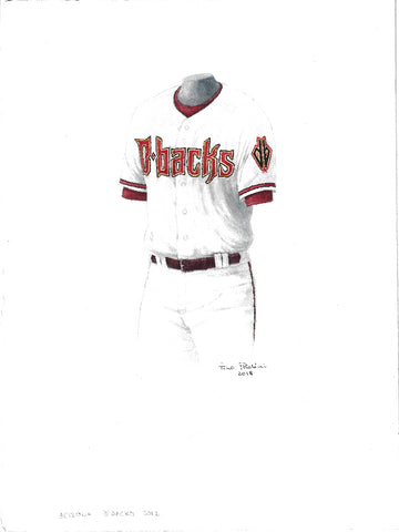 This is an original watercolor painting of the 2012 Arizona Diamondbacks uniform.