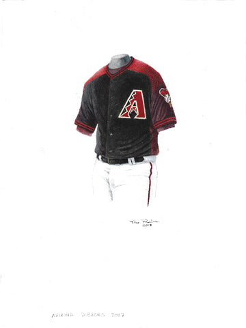 This is an original watercolor painting of the 2017 Arizona Diamondbacks uniform.