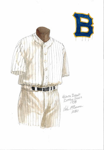 This is a framed original watercolor painting of the 1938 Boston Braves uniform.