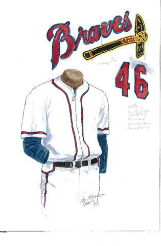 This is an original watercolor painting of the 1957 Atlanta Braves uniform.