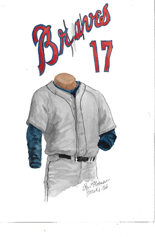 This is an original watercolor painting of the 1966 Atlanta Braves uniform.